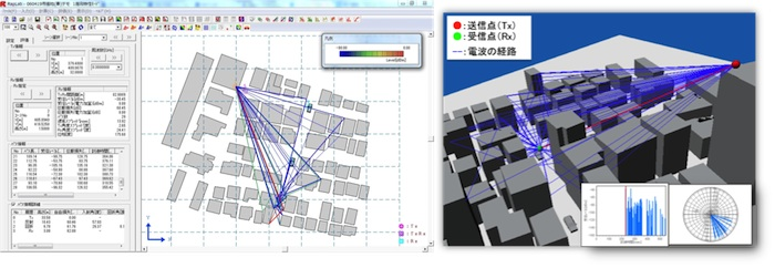 Screen capture of RapLab, radio wave propagation analysis tool that employs 3D ray tracing method